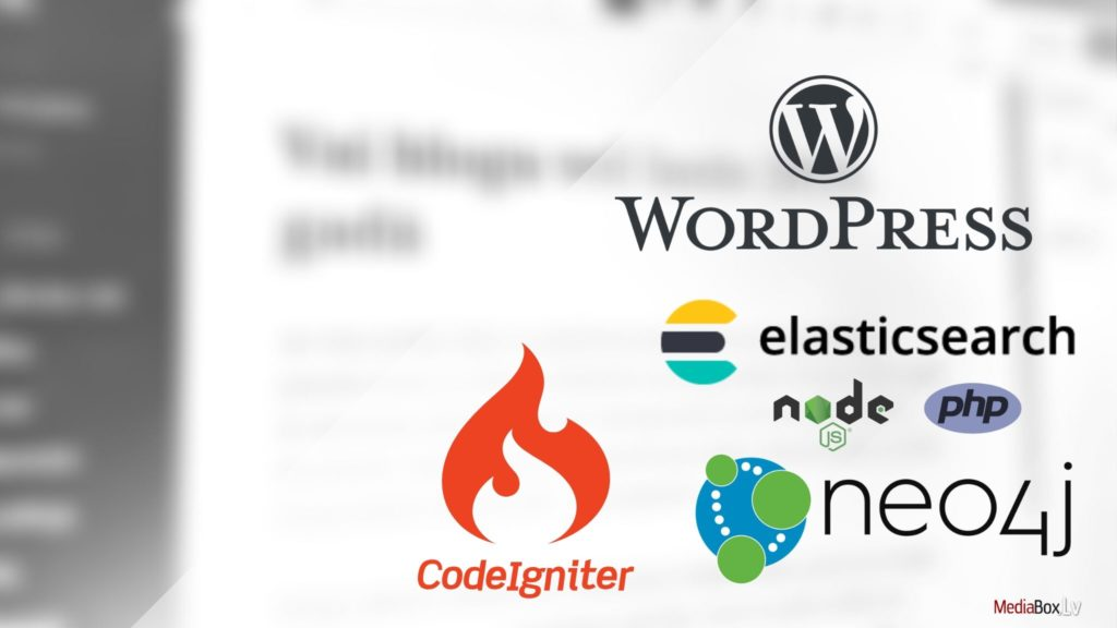 web izstrāde: PHP, Node.js, WordPress-, Neo4j, CodeIgniter, elasticsearch