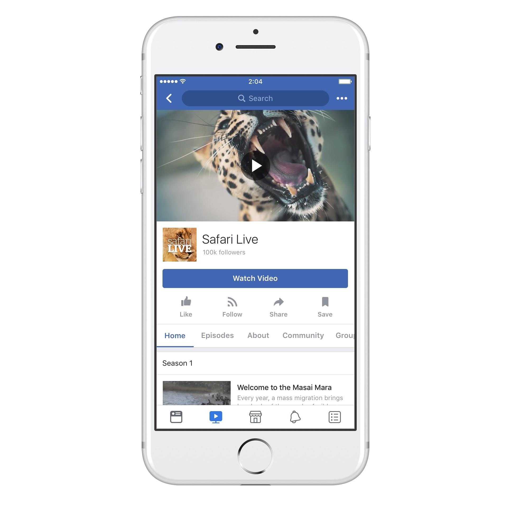 Facebook Watch mobilajā telefonā.